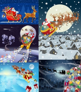 vector santa claus gifts