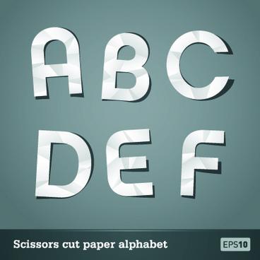 vector scissors cut paper alphabet art