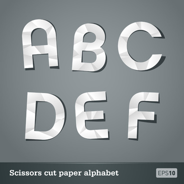 vector scissors cut paper alphabet set