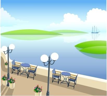 vector seaside recreation area