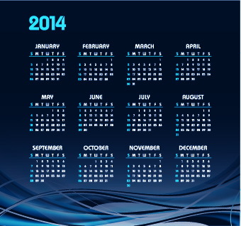 vector set of14 calendar design