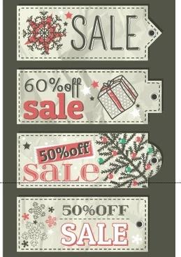 vector set of14 christmas sale tags design