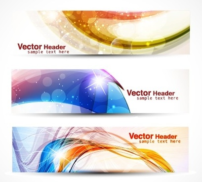 vector set of abstract banner header graphics