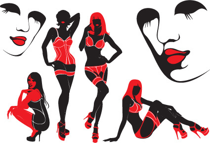 vector set of alluring beauty girls design elements