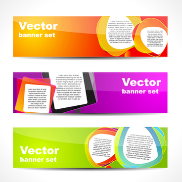 vector set of banner with colored shapes graphics