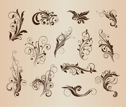 vector set of beautiful floral elements