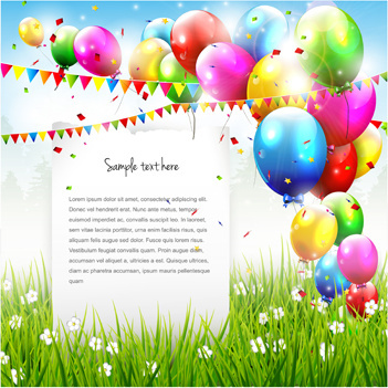 Vector Set Of Birthday Cards Design Elements