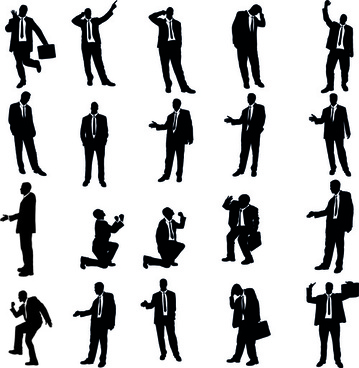 vector set of businessman silhouettes graphics
