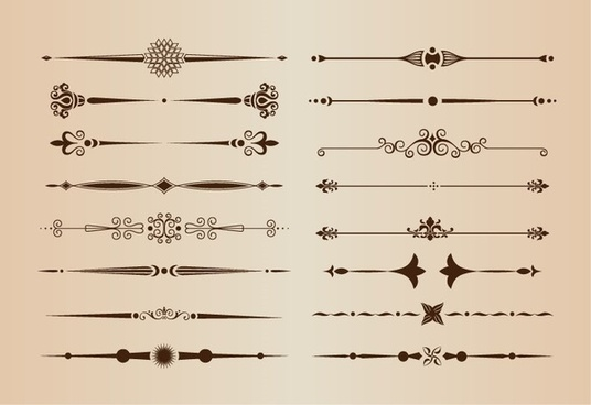 vector set of calligraphic design elements and page decoration dividers