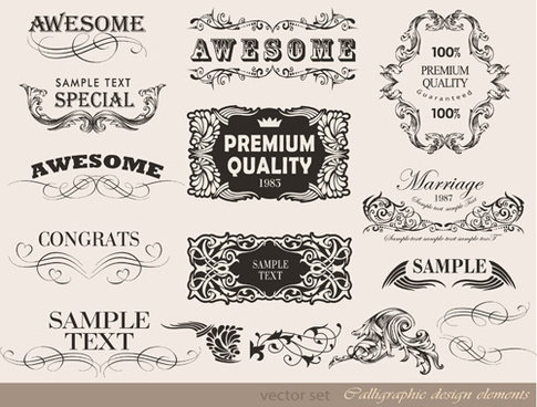 vector set of calligraphic vintage elements