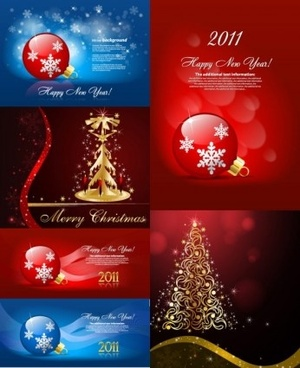 vector set of christmas shiny background
