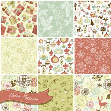 vector set of christmas style pattern illustration