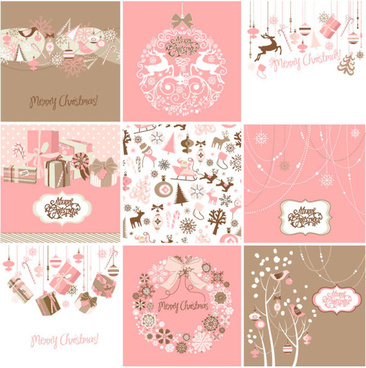 vector set of christmas style pattern illustration