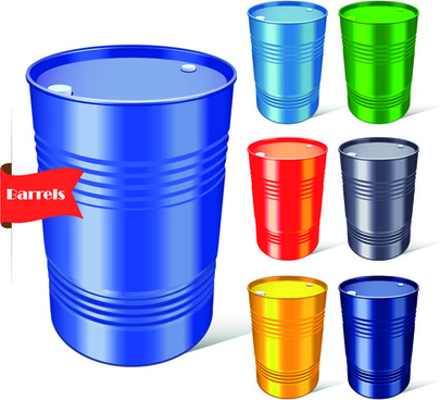 vector set of colored barrel vector