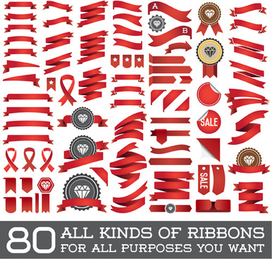 vector set of colorful ribbons design