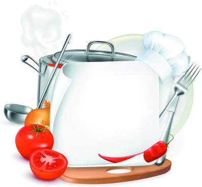 vector set of cooking elements