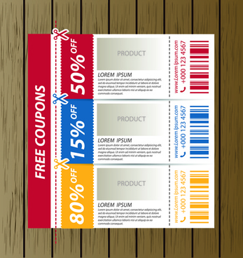 vector set of coupon offer template