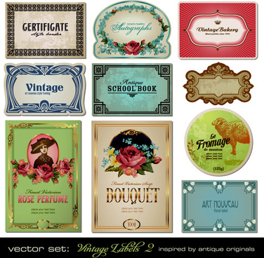 vector set of creative vintage labels