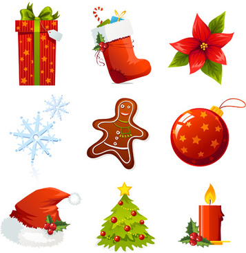 vector set of different xmas icons elements