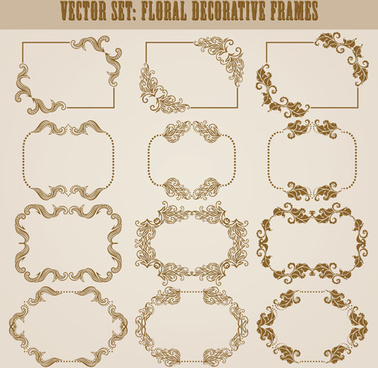 vector set of floral decorative frames design