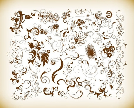 vector set of floral elements for decor
