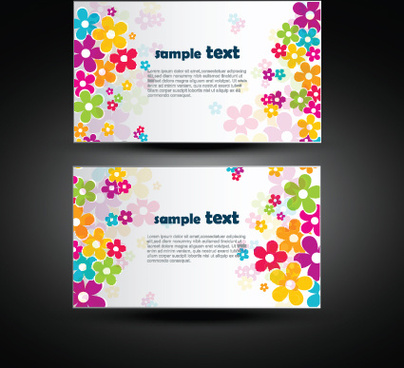 vector set of flowers business card design