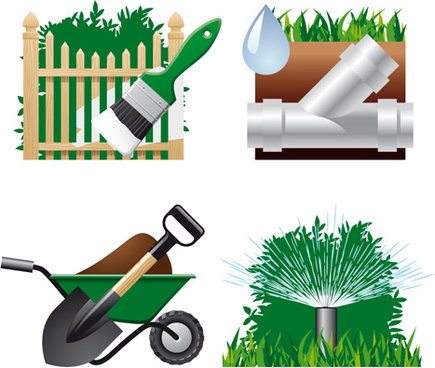 vector set of gardening tool graphic