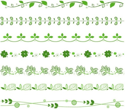vector set of green floral border