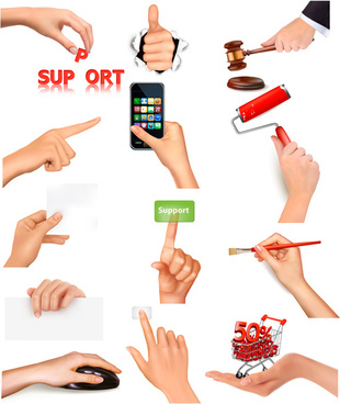 vector set of hand gestures design graphics