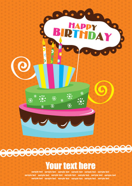 Vector Set Of Happy Birthday Cake Card