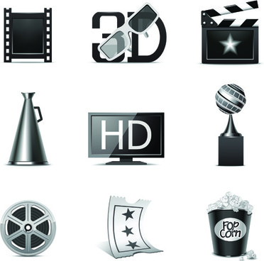 vector set of icons 3d movies elements