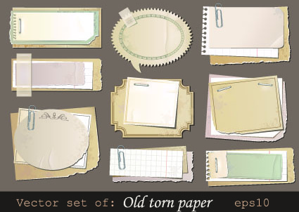 vector set of isolated tattered notebook paper