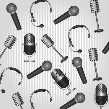 vector set of microphone design elements graphics