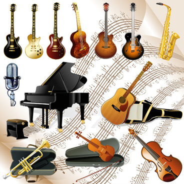 vector set of musical instruments graphics