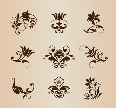 vector set of ornamental vintage flowers elements