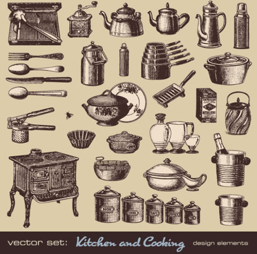 vector set of retro kitchen and cooking