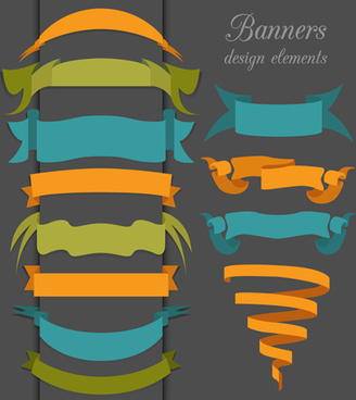 vector set of ribbon vintage banners