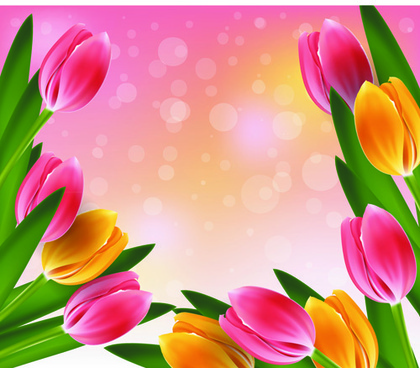 vector set of spring flowers design graphics