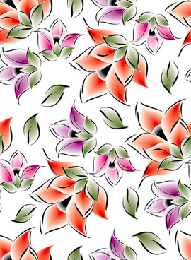 vector set of spring flowers pattern