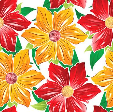 vector set of spring flowers pattern