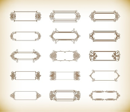 vector set of vintage banners and labels or frames ornamental design