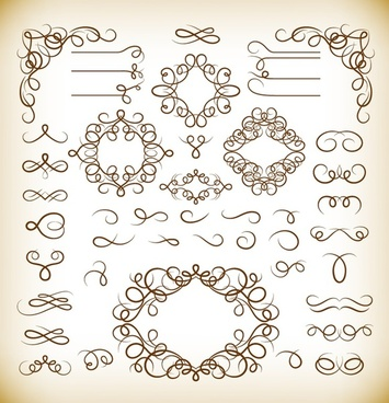 vector set of vintage calligraphic design elements
