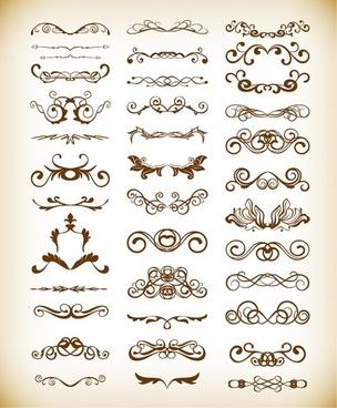 vector set of vintage floral frame element for design