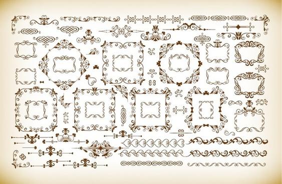 vector set of vintage frames and dividers