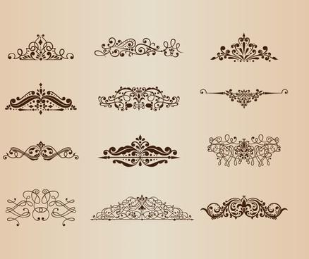 vector set of vintage ornaments with floral design elements