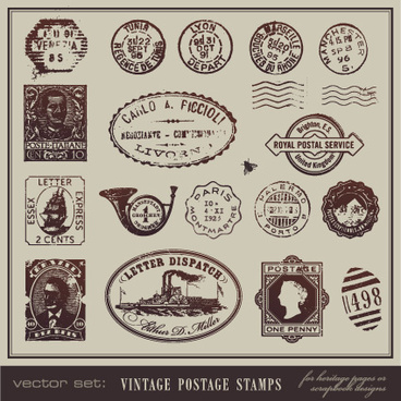 vector set of vintage postcard with stamps elements