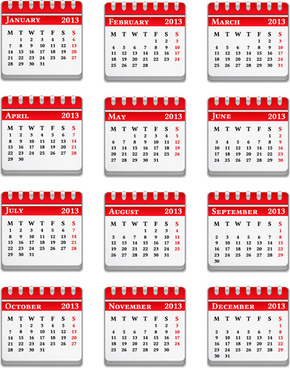 vector set of wall calendar13 design elements