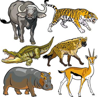 vector set of wild animals design graphic