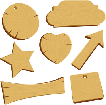 vector set of wooden labels elements