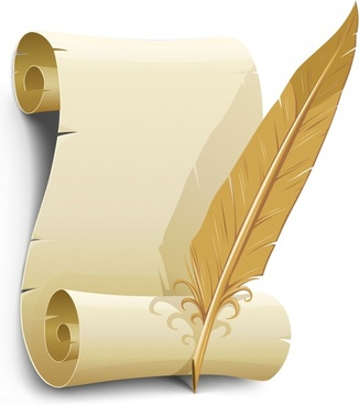 diploma template vintage 3d paper scroll feather sketch